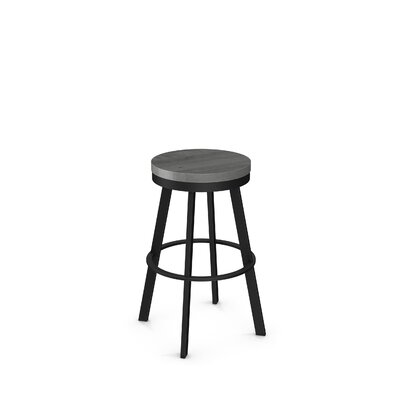 Floumoy 25 Swivel Bar Stool Color: Textured Black Metal/Light Gray Wood