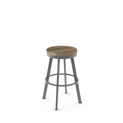 Floumoy 29 Swivel Bar Stool Color: Glossy Gray Metal/Beige Wood