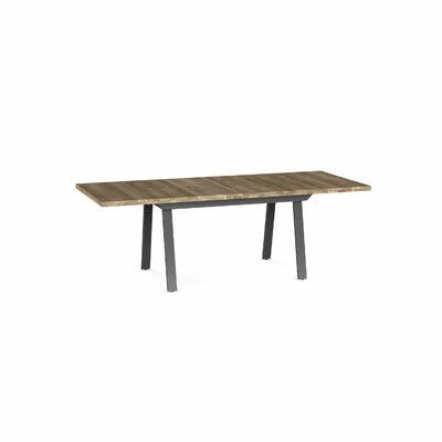 Amity Drop Leaf Extendable Dining Table Base Color / Top Color : Dark Gray Metal/Beige Top