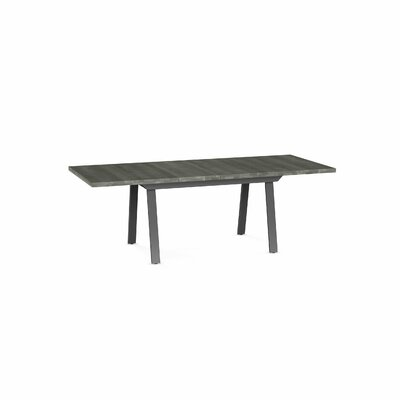 Amity Drop Leaf Extendable Dining Table Base Color / Top Color : Dark Gray Metal/Light Gray Top