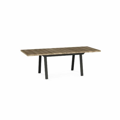 Amity Drop Leaf Extendable Dining Table Base Color / Top Color : Dark Brown Metal/Beige Top