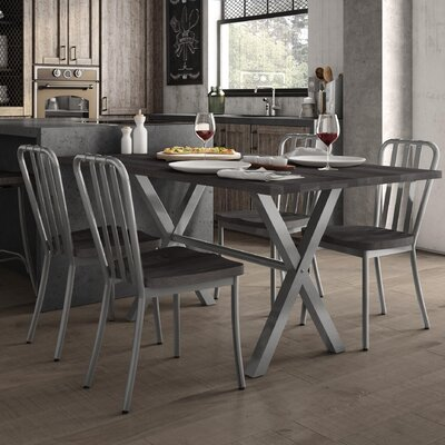 Raritan 5 Piece Dining Set Table Color: Glossy Gray