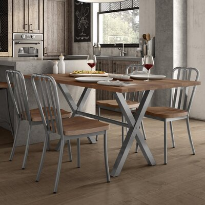 Raritan 5 Piece Dining Set Table Color: Glossy Gray/Brown