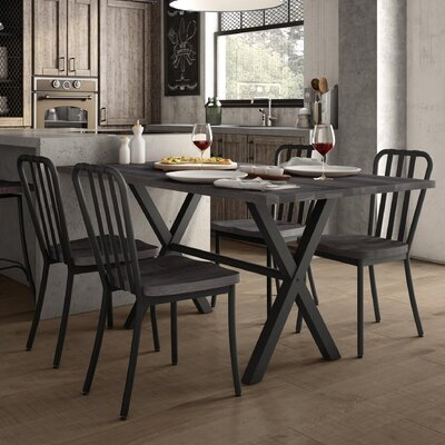 Raritan 5 Piece Dining Set Table Color: Black/Gray