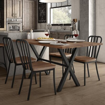 Raritan 5 Piece Dining Set Table Color: Black/Brown