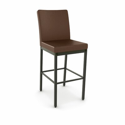 Perry 30.25 Bar Stool Finish: Textured Dark Brown, Upholstery: Medium Brown Polyurethane