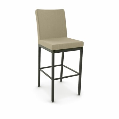 Driggers 30.25 Bar Stool Finish: Semi-Transparent, Upholstery: Beige Fabric