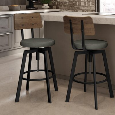 Lorri Adjustable Height Swivel Bar Stool Finish: Black Metal/Brown