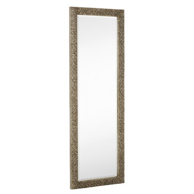 Long Rectangular Stylish Silver With Black Undercoat Framed Beveled Glass Wall Mirror 2145-B