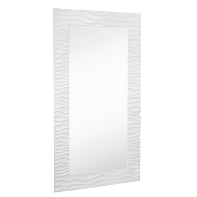 Large Stylish Rectangular Glossy White Lacquer Wavy Framed Glass Wall Mirror 2146-P