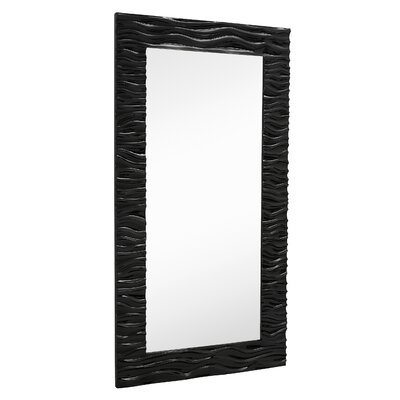 Large Stylish Rectangular Glossy White Lacquer Wavy Framed Glass Wall Mirror 2147-P
