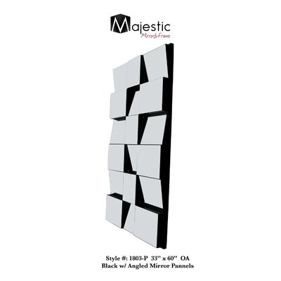 3D Stylish Black Modern Square Glass Tile Mirror 1803-P