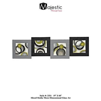 Majestic Mirror Abstract Stylish Glass Panel Square 4 Piece Framed Painting Print Set 2351