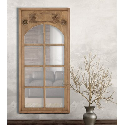 Natural Wood Stained Window Frame Decorative Wall Mirror 2669-P