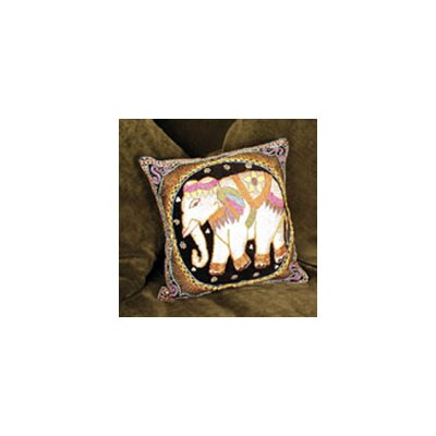 Burmese Elephant Silk Throw Pillow