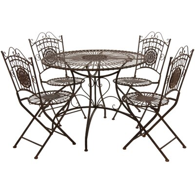 5 Piece Dining Set Finish: Rust Patina