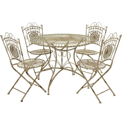 5 Piece Dining Set Finish: Distressed White