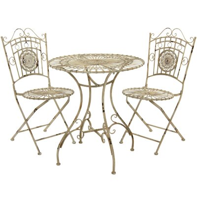 3 Piece Bistro Set Finish: Distressed White