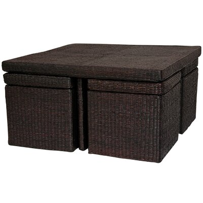 Coffee Table with Four Stools Color: Rich Mocha