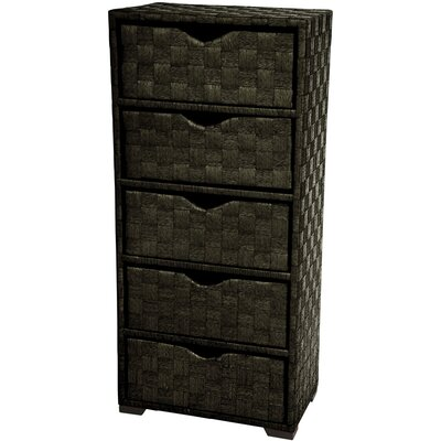 Oriental Furniture Natural Fiber Black Lingerie Chest JH09-101-5-BLK