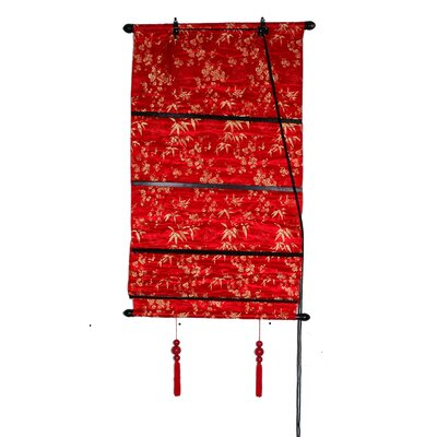 Leaves Shang Hai Tan Roman Shade Size: 24 W x 72 L, Color: Red