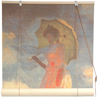 Girl with a Parasol Bamboo Roller Blind Size: 60 W x 72 L