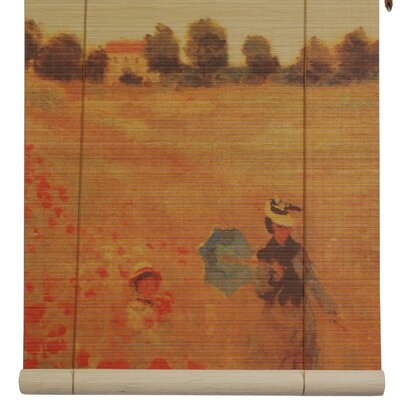 Poppies Bamboo Roller Blind Size: 60 W x 72 L