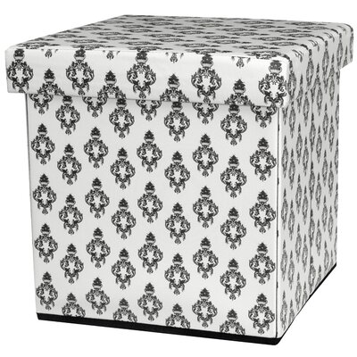 Damask Storage Ottoman Upholstery: White