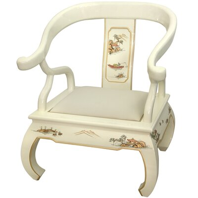 Christiane Ming Fabric Armchair Color: Ivory