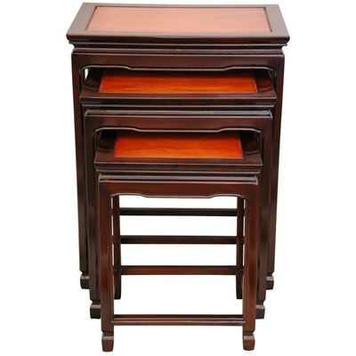 3 Piece Nesting Tables Color: Honey and Cherry