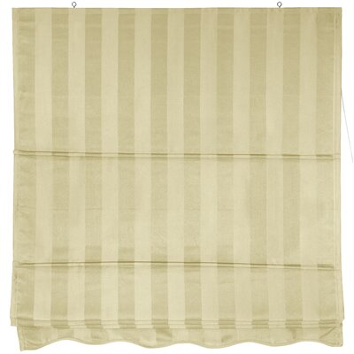Striped Retractable Cotton Roman Shade Size: 24