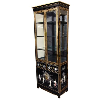 cheap oriental furniture mother of pearl ladies tall curio cabinet in black lacquer ofn3720 cheap oriental furniture