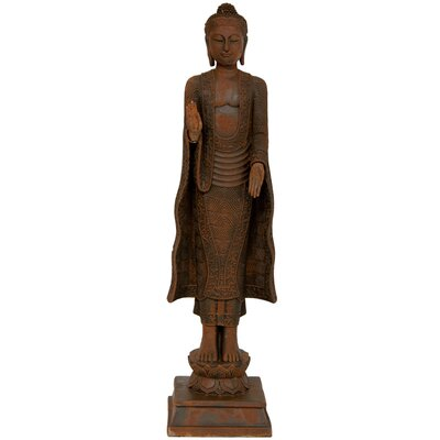 "Oriental Furniture 21"""" Standing Semui-in Patina Buddha Statue in Rust STA-BUD32"