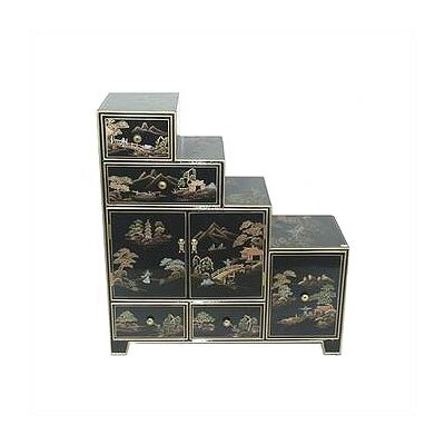 Chinese Black Step Tansu Cabinet