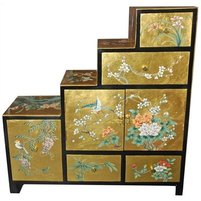 Chinese Gold Leaf Step Tansu Cabinet