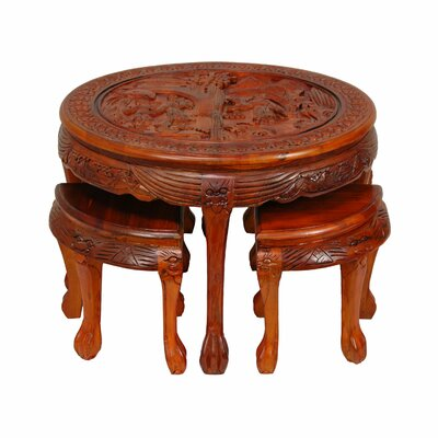 Carved Coffee Table with Stool