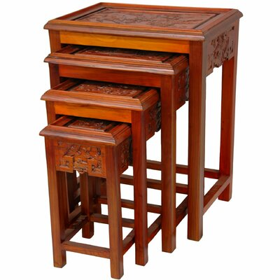 Carved 4 Piece Nesting Tables Color: Two Tone Honey