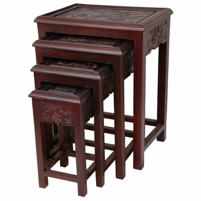 Carved 4 Piece Nesting Tables Color: Cherry