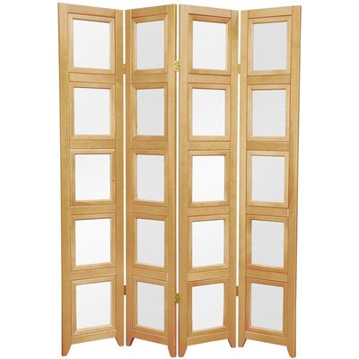 Double Sided Photo Display Room Divider in Natural Number of Panels: 4 Pannels