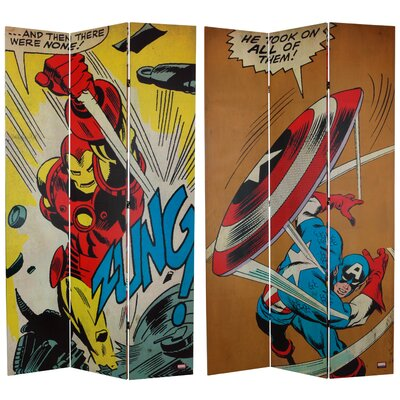 "84"" x 51"" Tall Double Sided Captain America/Iron Man 3 Panel Room Divider CAN-RM-CAIM2"