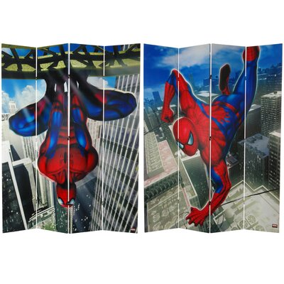 """84"""" x 68"""" Tall Double Sided Spider-Man Wall Crawler 4 Panel Room Divider CAN-SP-741"""