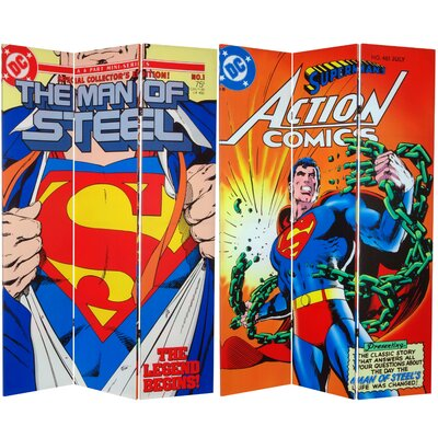 """71"""" x 47.25"""" Tall Double Sided Superman Man of Steel 3 Panel Room Divider CAN-WBSM-632"""