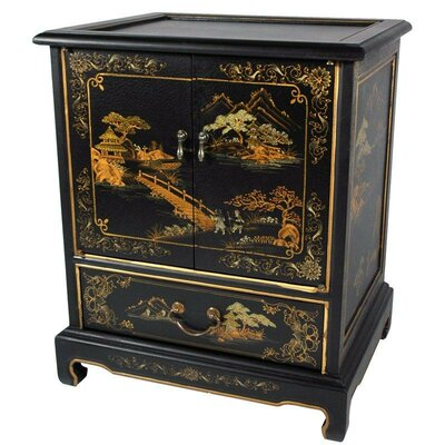 Japanese End Table with Storage Color: Black Crackle