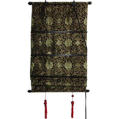 Intricate Shang Hai Tan Roman Shade Size: 48 W x 72 L, Color: Black and Gold
