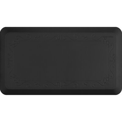Fleur-De-Lys Series Kitchen Mat Size: 36 H x 20 W, Color: Black