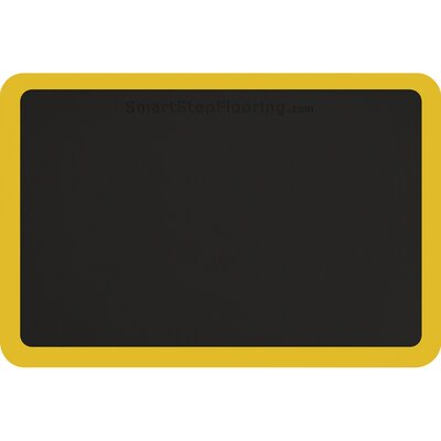 Contour Solid Utility Mat Color: Black/Yellow, Mat Size: Rectangle 3 x 2