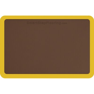 Contour Solid Utility Mat Color: Brown/Yellow, Mat Size: Rectangle 3 x 2