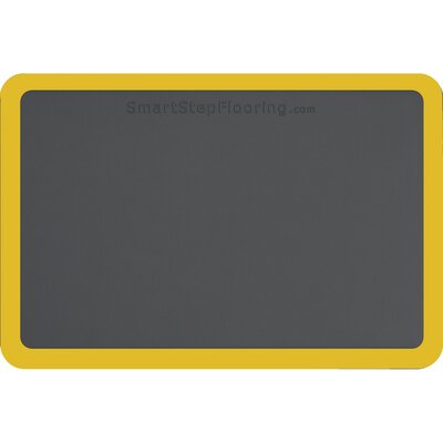 Contour Solid Utility Mat Color: Gray/Yellow, Mat Size: Rectangle 3 x 2