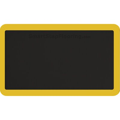 Contour Solid Utility Mat Color: Black/Yellow, Rug Size: Rectangle 26 x 16