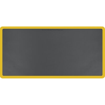 Contour Solid Utility Mat Color: Gray/Yellow, Mat Size: Rectangle 6 x 3